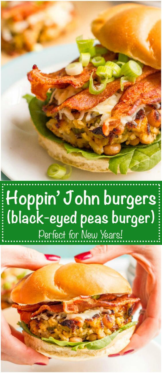 Black eyed peas burgers with brown rice and bacon are like the traditional Southern hoppin' John dish in burger form! | www.familyfoodonthetable.com