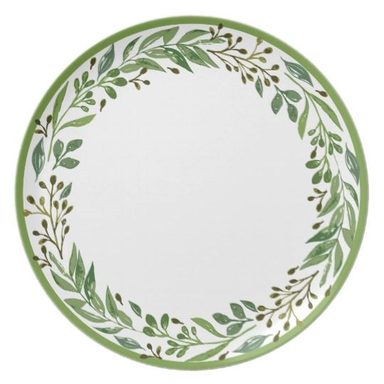 Stylish Christmas Plates With Classic December Holiday Season Laurel Leaf Garland Motif Green A Holiday Wreaths Christmas Dinner Decorations Christmas Plates
