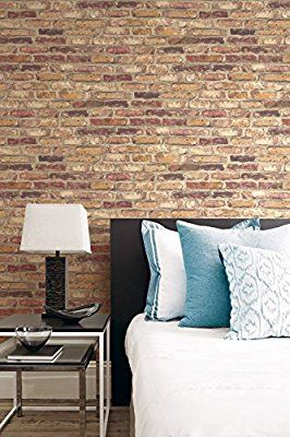 Nextwall Faux Rustic Red Brick Peel And Stick Wallpaper Amazon Com Brick Wallpaper Bedroom Brick Wallpaper Faux Brick