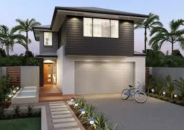 Charcoal grey weatherboard look contrast with white render for Weatherboard garage designs