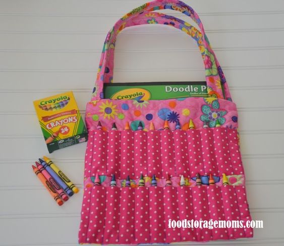 Childrens Crayon Bag. Would like to make spots for markers and pencils instead.