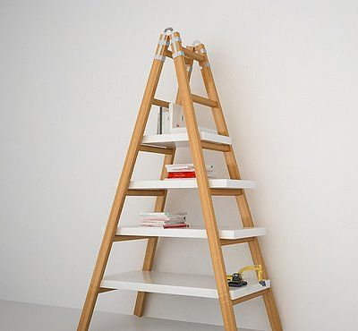 such a cute idea - would love to do with an antique ladder and some re-purposed wood shelves!