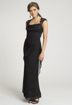 This Xscape mesh dress has a cowl neck side drape and lace cap ...