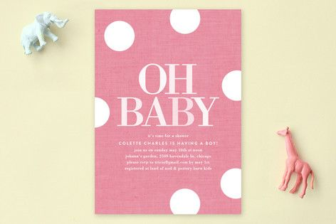 Oh Baby Dots Baby Shower Invitations