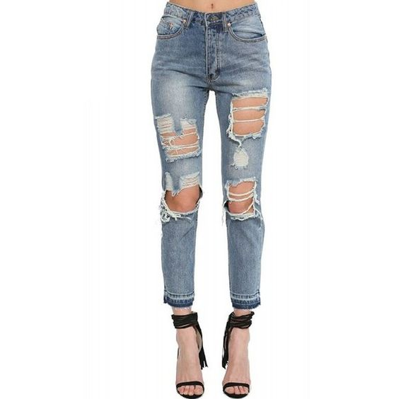 LUCLUC Midwash Blue Ripped Denim Jeans (€30) ❤ liked on Polyvore featuring jeans, pants, bottoms, dolls, roupa, distressing jeans, blue ripped jeans, white destroyed jeans, white distressed jeans and distressed jeans