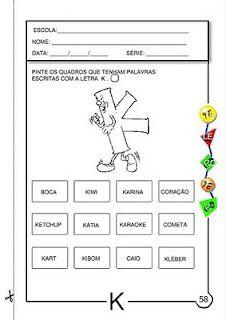 ALFABETIZAÇÃO CEFAPRO DE PONTES E LACERDA : Sugestão de Atividades com a letra k