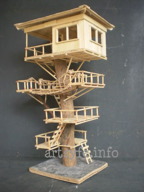 Popsicle stick crafts awesome and popsicles on pinterest for How to build a treehouse with sticks