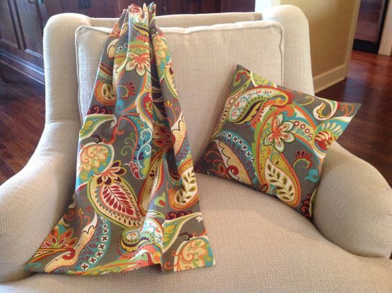 ONE PAIR 2 panels curtains  Waverly Paisley 25  X by PILLOWSBYDEAN