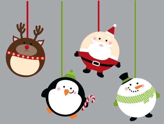 Circle punch art Christmas pudgies - Reindeer, Santa, Penguin, Snowman - bjl