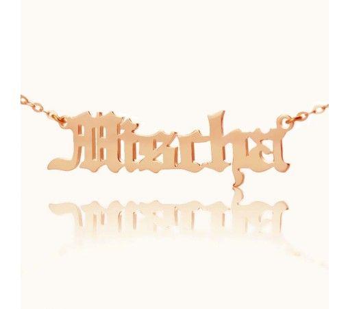 【送料無料】ローズゴールドメッキ☆彡 ★シンプルGotisch Script Name Necklace  ネームネックレス