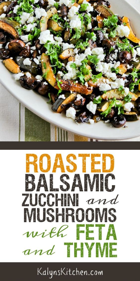 Roasted Zucchini and Mushrooms with Feta