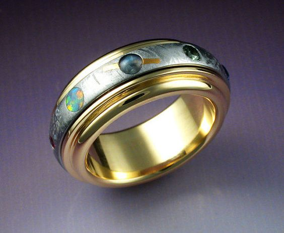 Nine Planet Ring by John Biagiotti ...gold, gemstones ...