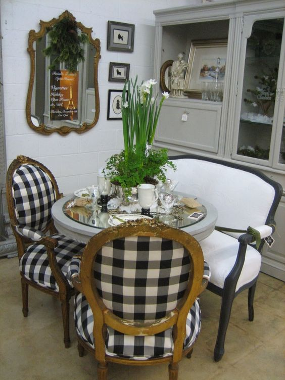 Gold Chairs Buffalo Plaid And Square Tables On Pinterest