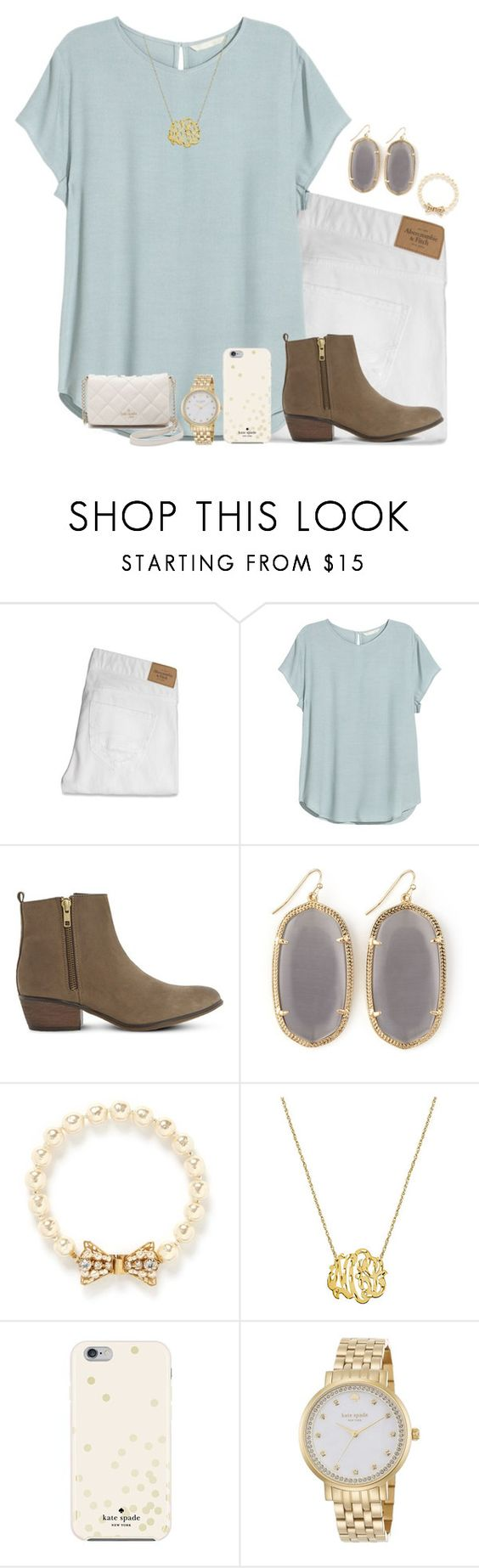 """""""Darling I'm a nightmare dressed like a daydream """" by remiii13 ❤ liked on Polyvore featuring Abercrombie & Fitch, H&M, Steve Madden, Kendra Scott, Miriam Haskell and Kate Spade"""