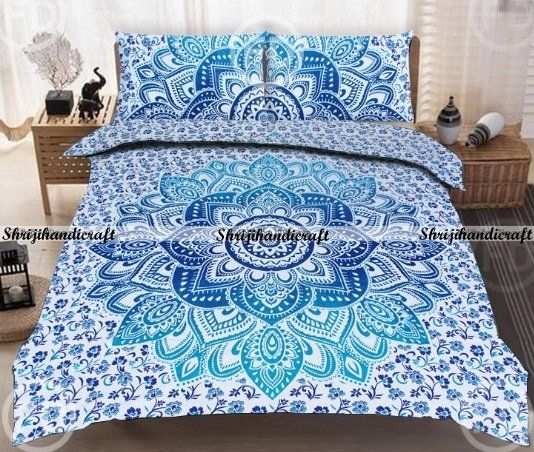 Indian Blue Mandala Bedding Pillow Case Cover Bohemian Queen Size Cushion Cover