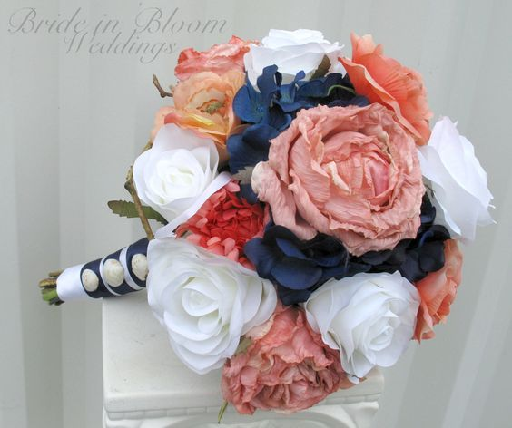 Wedding bouquet coral navy white rose bridal bouquets silk beach wedding flowers.