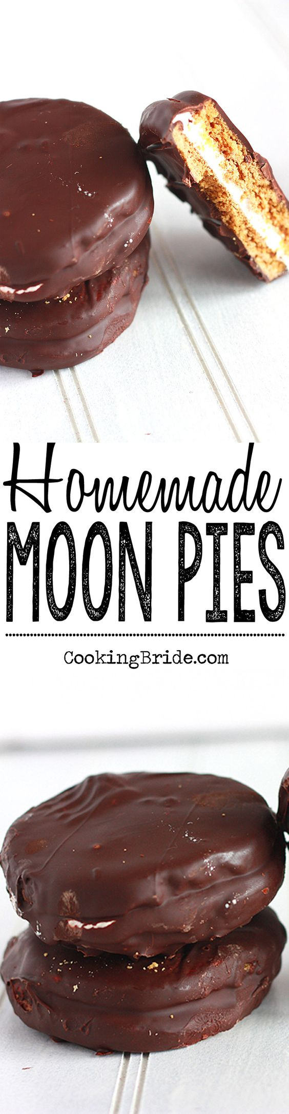 A traditional Southern treat, these homemade moon pies have  marshmallow nestled between two graham cracker cookies and covered in chocolate.