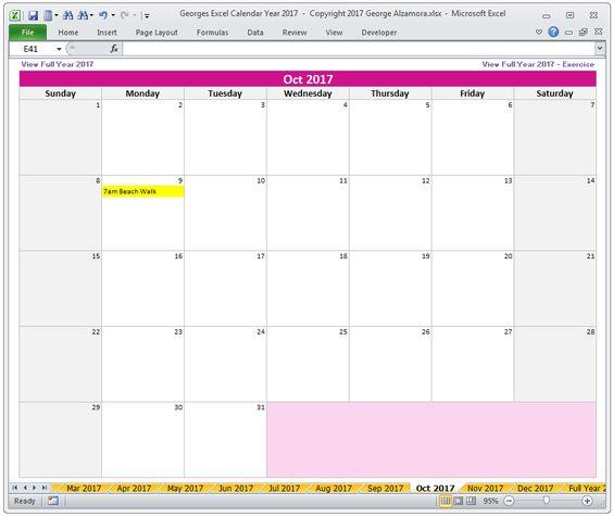 Georges Excel Calendar Year   Calendar Printable Holidays