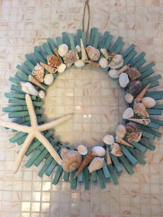 Seaside clothespin wreath: