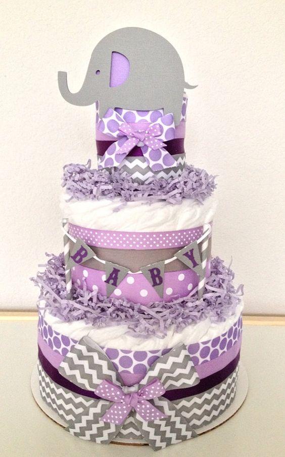 Chevron Gray and Purple Lavender Lil' Peanut Elephant Diaper Cake Baby Shower Centerpiece