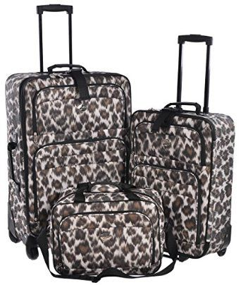 Amazon.com: Jetstream Leopard Print 3 Piece Luggage Set - Checked & Carry On Suitcases with Business Bag: Clothing