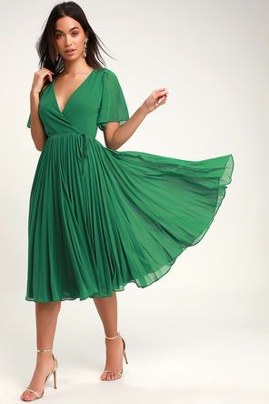 Lovely Forest Green Dress - Embroidered Dress - Midi Dress