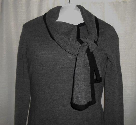 ANN TAYLOR LOFT Women Sz S Small Sweater WOOL CASHMERE Blend Long Slv Gray Black #AnnTaylorLOFT #Crewneck