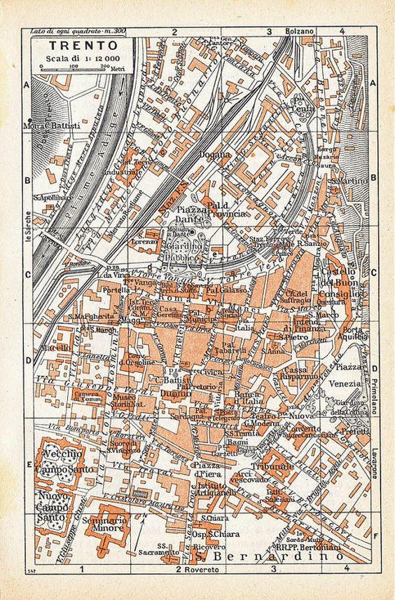 Vintage Street Map Trento Italian City Maps 1950 by carambas, $10.00