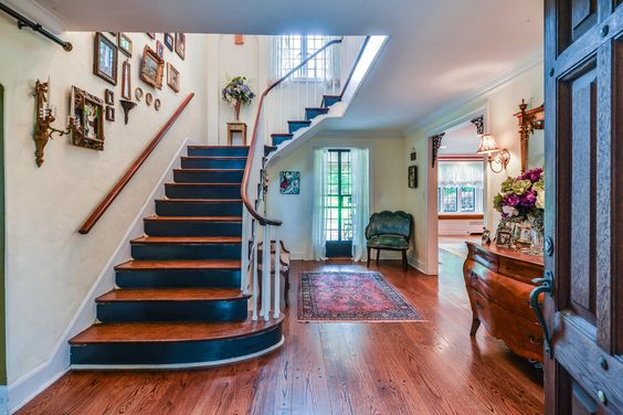Gracious foyer at our listing on 118 Highland Avenue in Doctor's Row. #gallerywall #staircase #beautifulfoyer #persianrug
