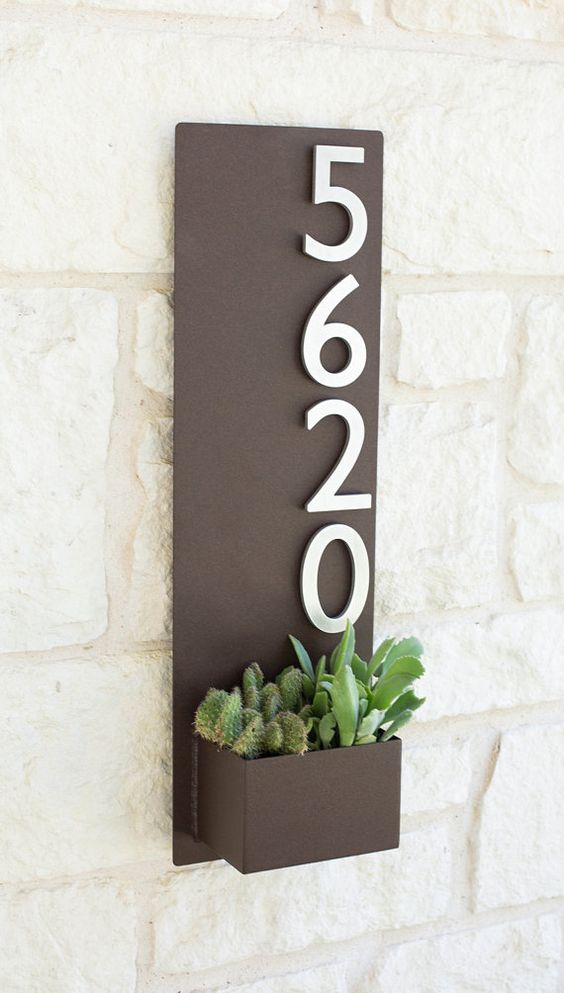 8 x 26 contemporary brown succulent hanging planter for Front door number plaques