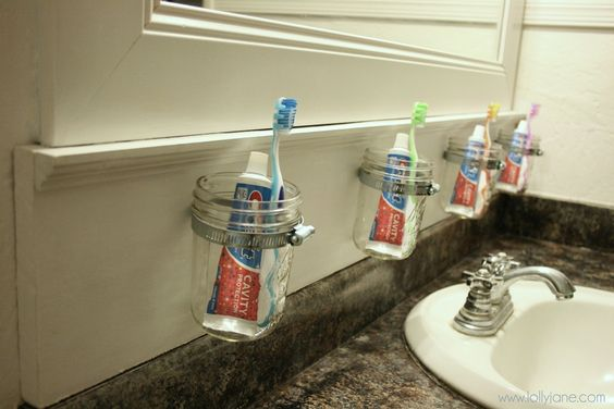 Mason Jar Storage- like the idea for keeping things off the counter