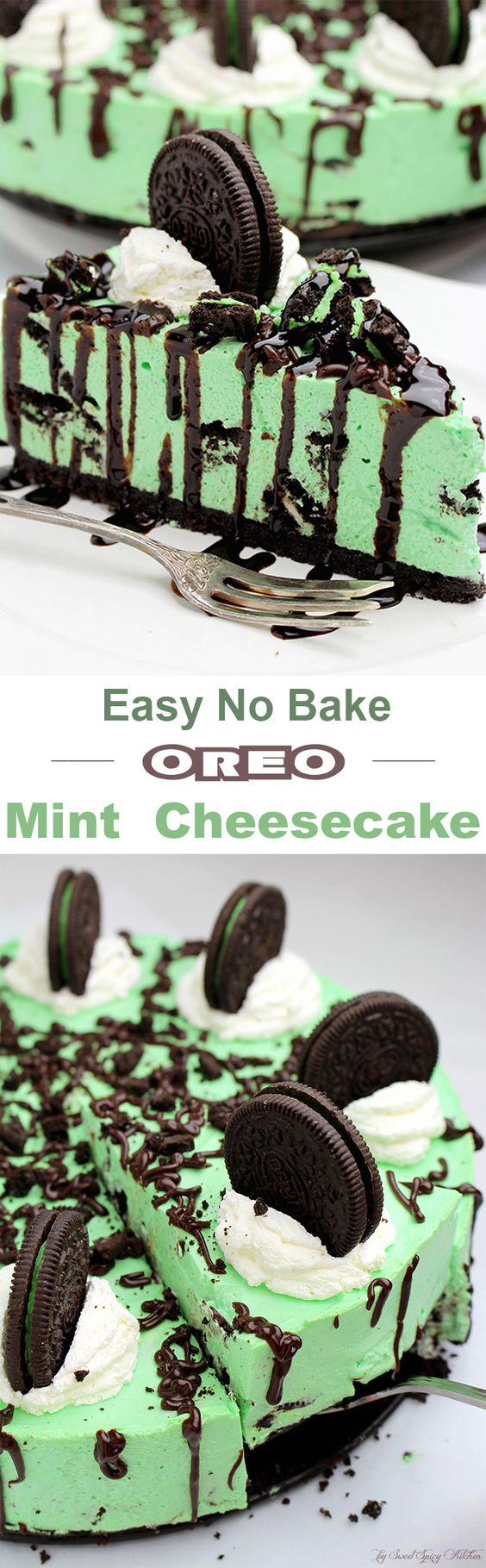 For all Oreo fans I have this fantastic dessert - Easy No Bake Oreo Mint Cheesecake - perfect for special occasions or holidays, like St. Patrick's Day ♥: