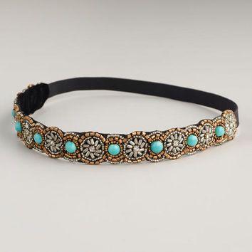 Turquoise Beaded Headband