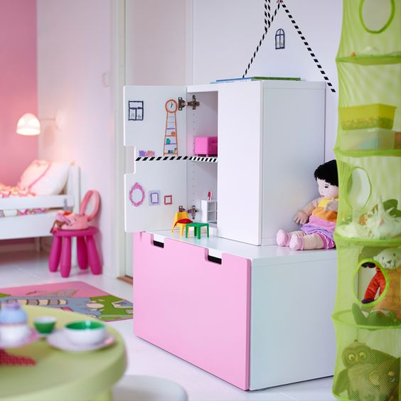 STUVA doesn't just have to be for storage - it's easy to turn a shelf into a dollhouse for lots of playtime fun.: