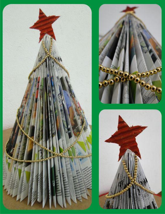 Rbol de navidad elaborado con revista de papel peri dico - Arbol de navidad con papel ...