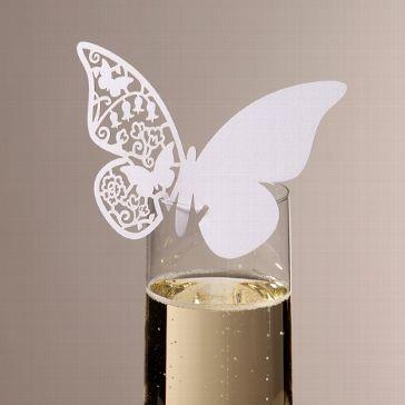 Süße Namenskarten zur Hochzeit in Weiß zum befestigen an den Gläsern der Hochzeitsgäste