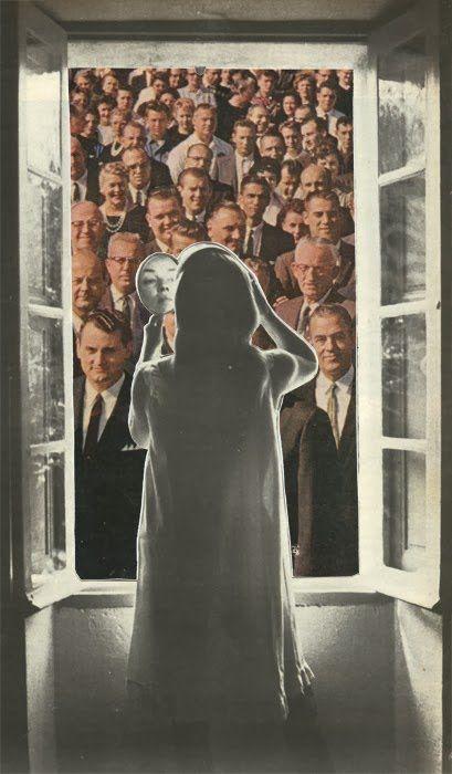 Collages de Sammy Slabbinck. Un@ más, pero moriría por ti; ... y el espejo sonríó.