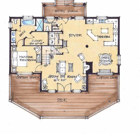 Sky View Lodge Main Floor But Shrink The Demensions To Fit Our Needs Craftsman House Plans House Blueprints House Plans Farmhouse