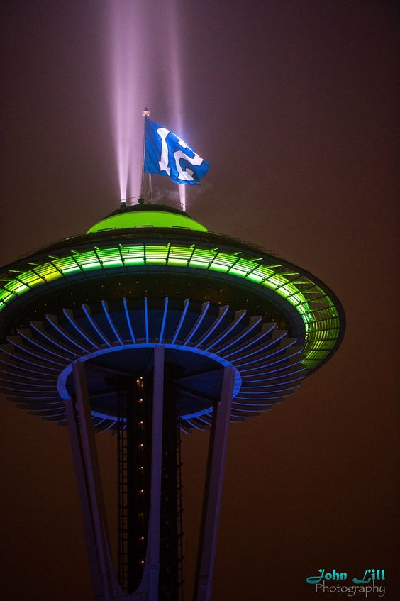 Space Needle decked out for our Seattle Seahawks! Super Bowl CHAMPS 2014