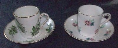 2 China de hueso de la vendimia Inglés Demitasse taza y platillos Royal Grafton