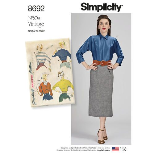 Simplicity Pattern 8692 Misses Vintage Blouse And Dickey