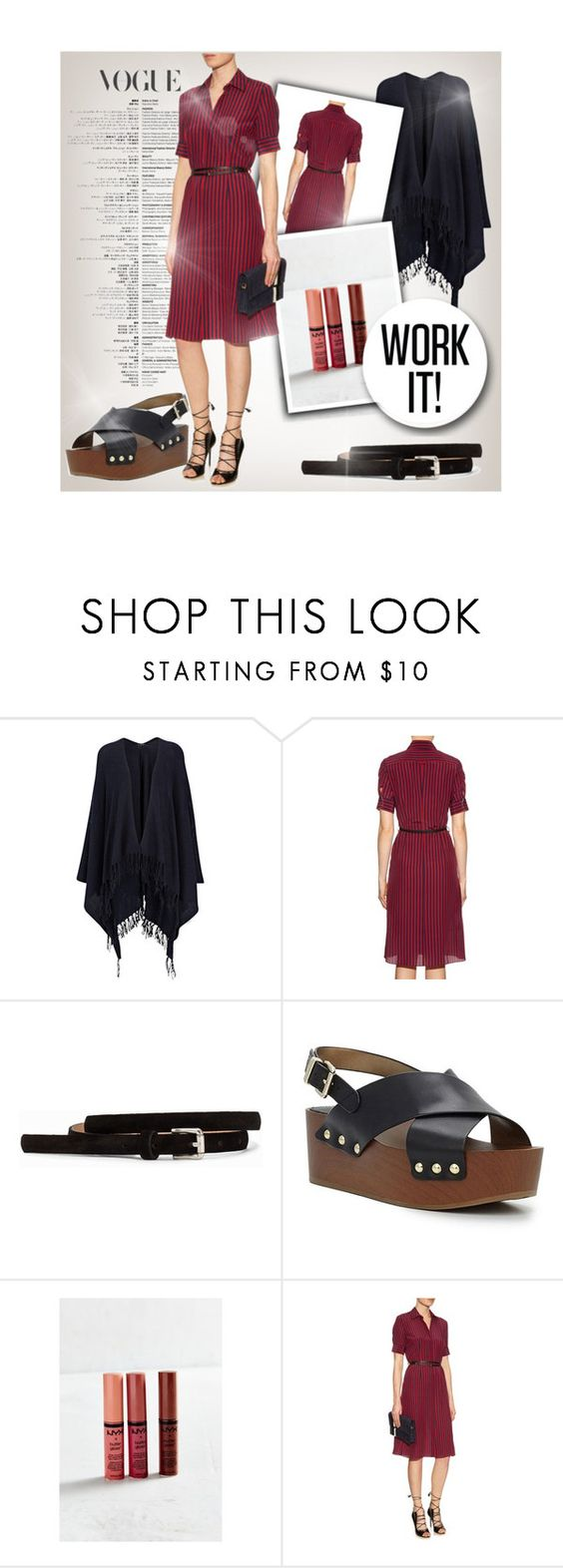 """Belted shirt-dress"" by smooliajw ❤ liked on Polyvore featuring Joseph, Altuzarra, Pieces, Sam Edelman and NYX"