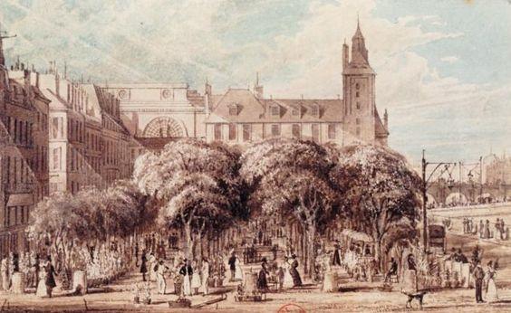 Paris, marché aux fleurs, place Louis-Lépine, Frederick Nash, 1829.jpg