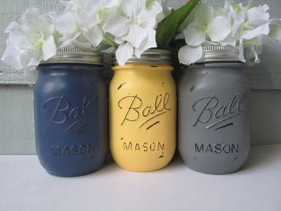spring wedding colour scheme - wedding mansons jars