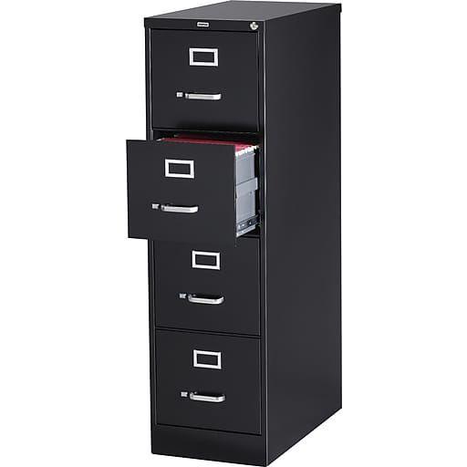 4 File Drawers Vertical File Cabinet Locking Black Letter 26 5