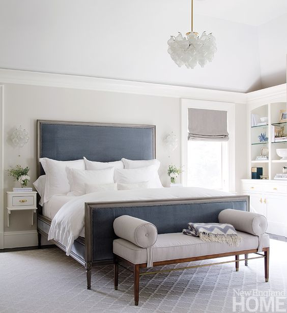 Decorating With Navy And White Upholstered Beds