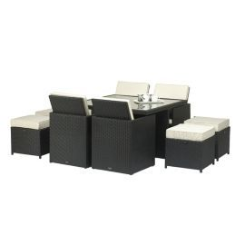 Buy Cannes Ebony Black 8 Seater Cube Set - 125cm Square Table With Parasol Hole - 4 Chairs & 4 Footstool from our Garden Furniture Sets range - Tesco.com