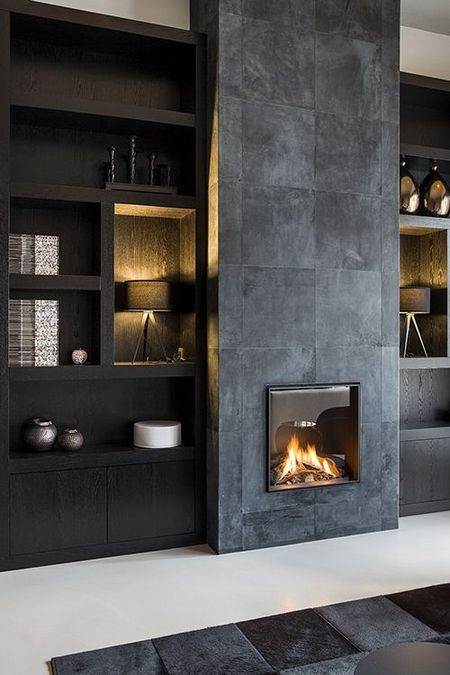 45 Perfect Modern Fireplaces For Winter Decor Ideas Contemporary Fireplace Designs Contemporary Fireplace Modern Fireplace