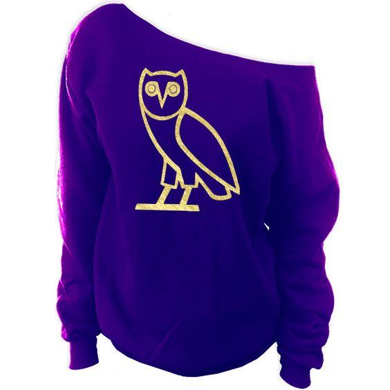 oVo Owl October's Very Owl Off-The-Shoulder Oversized Slouchy Sweatshirt