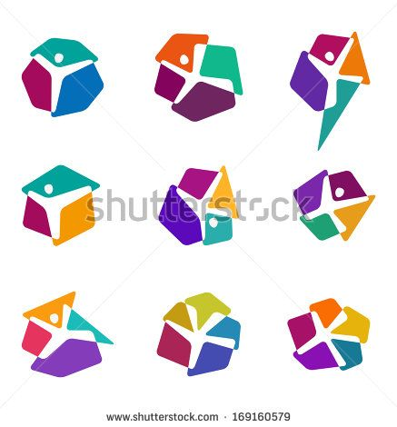 "Design colorful people vector logo template. ""y"", ""x"" letters icon set. You can use in the dance,  yoga ,sport and other organization concept of pattern."